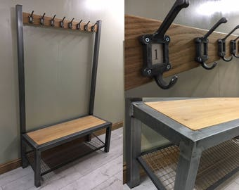 Industrial hallway steel bench with shoe / boot storage and coat rack by Stoaked - Customisable