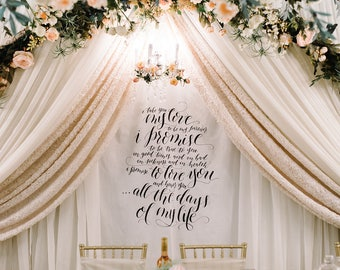 Calligraphy Wedding Vow Fabric Backdrop for Ceremony, Cake Table, Sweetheart Table