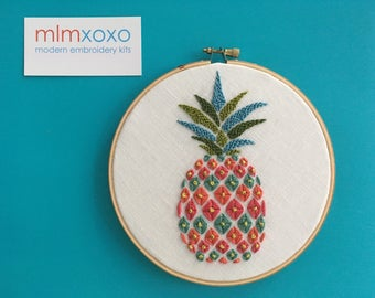 Embroidery KIT by mlmxoxo.  Pineapple.  modern embroidery kit.  diy needlework.  psychedelic. fruit. housewarming gift.  hand embroidery kit