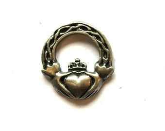 Irish Claddagh Pin Badge, English Pewter, Handmade (H)