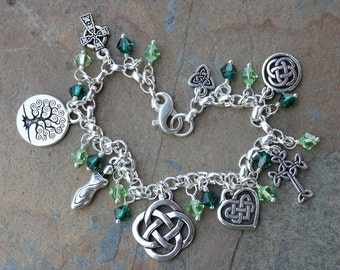 Deluxe Celtic Symbols Silver Charm bracelet with emerald & peridot green crystals and heavy sterling chain - free shipping USA