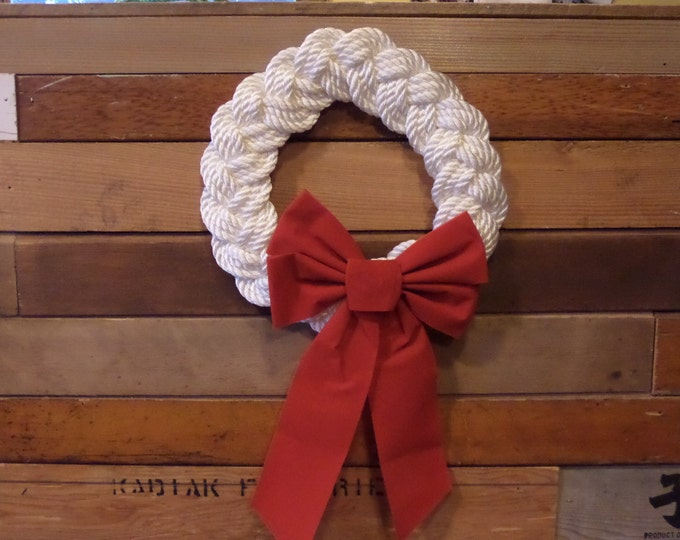 """12"""" White Rope Knotted Wreath Nautical Decor Door Hanging Holiday Decoration Beach Decor Red Bow"""