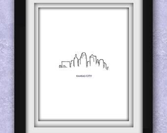 Kansas City Skyline Minimalist Print