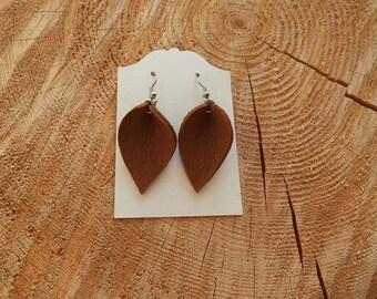 Tan Leather Earrings (short)