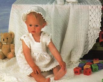 Baby CROCHET PATTERN crochet layette crochet shawl crochet dress bonnet & bootees 16-22inches DK Baby Crochet patterns pdf Instant download