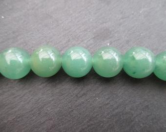 Aventurine: 3 round 12 mm beads - green gemstones