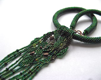 Green Freeform Peyote Necklace, Beadwork necklace, Crochet beads rope necklace, green jewelry, copper.