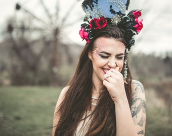 Vintage Inspired One of a Kind Old Hollywood Regency Floral and Gemstone Headpiece With Hand-applied Lace