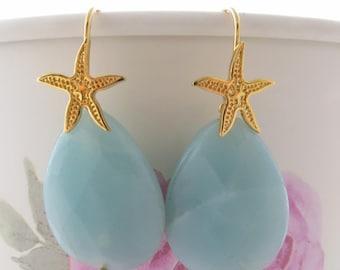Amazonite earrings, dangle earrings, blue stone earrings, drop earrings, golden sterling silver 925 earrings, uk gemstone jewelry, bijoux