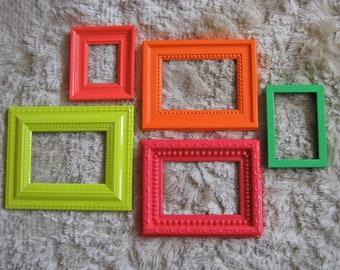 Bright Neon Frame Mirror set in Hot Pink, Cherry Red, Acid Yellow, Safety Orange & Grass Green