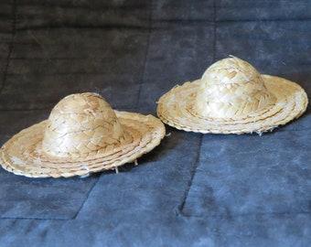 """set of 2 round top straw hats,4""""diameter,sun hat,scarecrows,gardener,doll-making,crafts,farmer,teddies"""