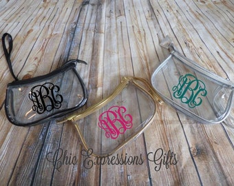 """Personalized 8""""x5"""" clear make up bag - perfect for bridesmaids, maid of honor, Matron of Honor, thank you gifts and so much more."""