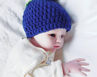 baby Newborn blueberry hat with green leaves