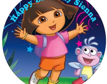 Dora the explorer icing sheet edible image, Dora Cake Topper, Dora Circle