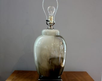 Large blown glass lamp // vintage black and gray table lamp // Mid Century Urn lamp