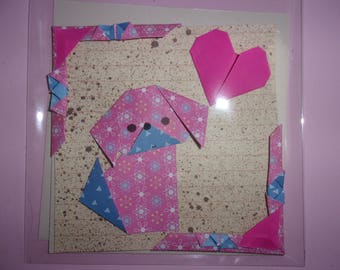 CARD DOUBLE dog small ORIGAMI rose