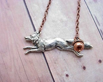 Fox Pendant Woodland Forest Creature Necklace Antiqued Silver with Copper Acorn