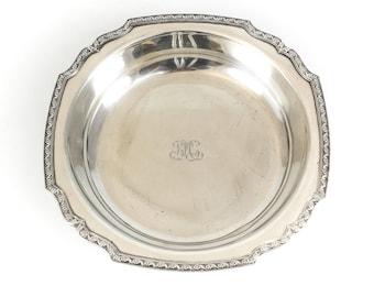 Tiffany & Co. Sterling Silver Monogram Floral Trimmed Serving Bowl #20683, c1890