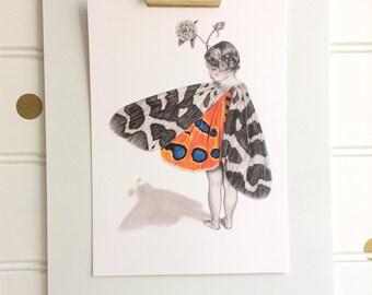 Don't Be Shy, Postcard Print, A6, Moth Girl