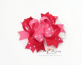 "Valentine's Day Boutique Hair bow- 4"" Stacked Bow, Large Bow, Girls Hair Bow, Alligator Clip, French Barrette- Made to Order"