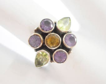 Nicky Butler Ring, Sterling Ring, Peridot Ring, Amethyst Ring, Citrine Ring, Sterling Silver Amethyst Peridot Citrine Ring Sz 8 NB #2942
