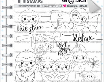 Sloth Stamp 80OFF COMMERCIAL USE Digi Digistamp Kawaii Stamps Baby Forest Animal Sleepy Cute