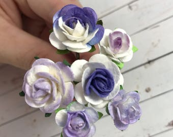 Monet Inspired Flower Hair Pins in Purple and White for Weddings, Bridesmaids, Prom, Ballet Buns // Roses Bobby Pins Gift Set