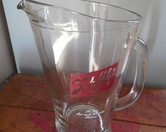 Vintage Schlitz Heavy Glass Beer Pitcher NOS