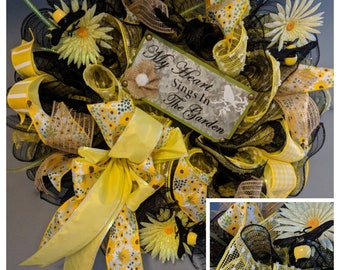 My Heart sings in the garden deco mesh wreath with sign