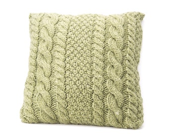 THE AVERAGE JANE Knitted square cable pillow cover - made-to-order Decorative, cabled throw pillow sage green pillow cover
