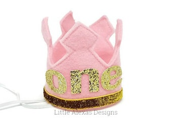 First Birthday Felt Crown, Pink and Gold Birthday Party Hat, Cake Smash, 1st Birthday,  Birthday Crown, Girl Birthday Crown, Pink Crown