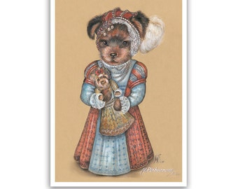 Yorkie Art Print - the Princess - Dog Lover Gifts and Dog Posters - Yorkshire Terrier - Dog Portraits by Maria Pishvanova