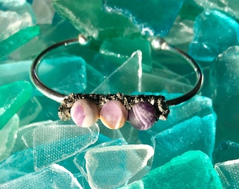 Amethyst and Crushed Pyrite Bracelet
