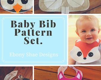Baby Bib Sewing PATTERN Set.  Fox bib, rabbit bib, owl bib and panda bib patterns.