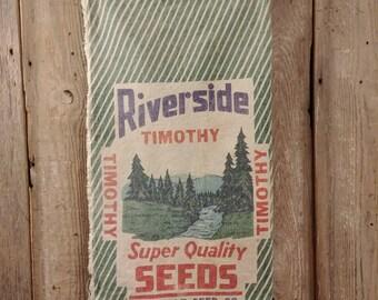 Vintage Riverside green seed sack made to order messenger or tote bag