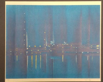 "Original Signed Richard Florsheim Print ""Harbor Lights"""