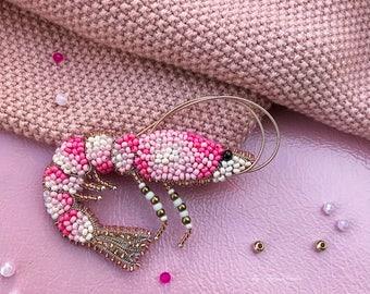 Pink shrimp brooch nautical pin beaded animal jewelry men lapel pin
