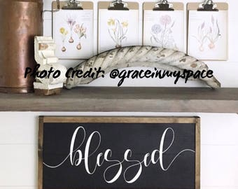 Blessed Sign | Farmhouse Sign | Distressed Sign | Large Blessed Sign | Blessed Wooden Sign | Farmhouse Decor