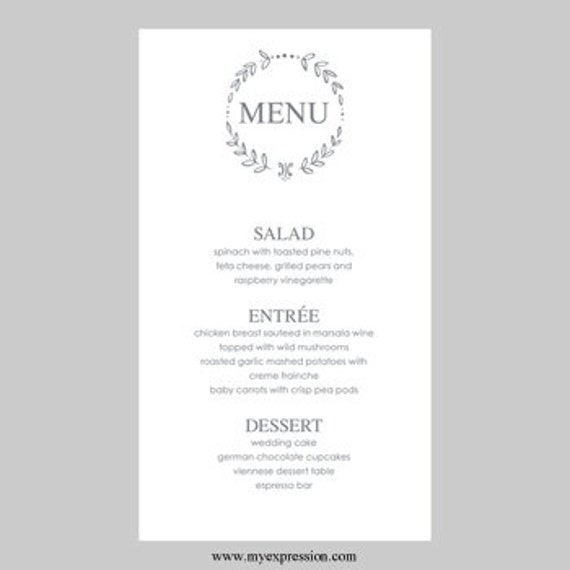 Wedding Menu Card Template Leaf Monogram Gray Instant