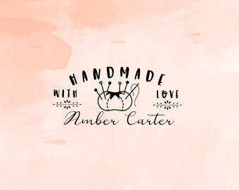 Handmade with Love Stamp, Business Stamp, Packaging Stamp, Shop Stamp, Self Inking Rubber Stamp - CB758