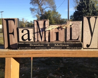 Personalized Family Name Wood Block Set Wedding Primitive Home Decor  Personalized Gift