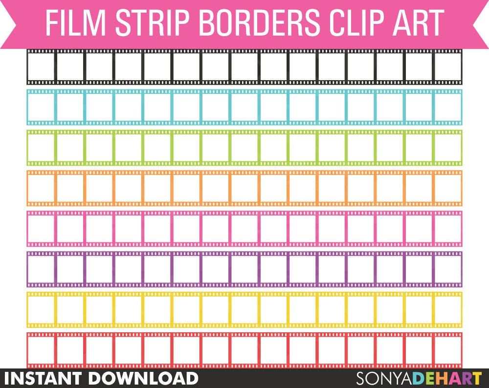 Clipart Film Strip Borders Digital Personal and Commercial Use