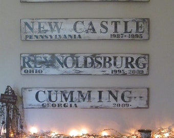 Distressed City Family history signs