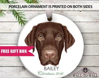 Labrador Retriever Dog Breed Personalized Christmas Holiday Ornament Custom Porcelain Ceramic Pet Face Ornament Gift Idea for Dog Lovers