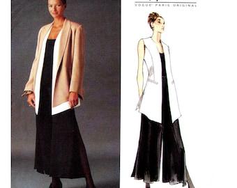 Shaped Hem Jacket or Vest, Cropped Palazzo Pants Pattern Vogue 1540 Montana Womens Size 8 10 12 Sewing Pattern