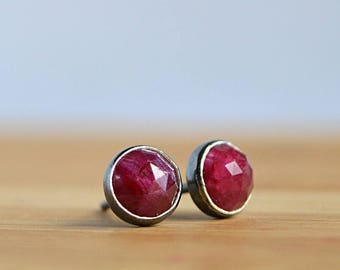 ct white sterling silver in jewelry earrings gold framed heart and sapphire natural ruby stud