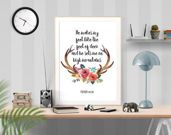 Deer watercolor, Printable Bible Verse, Deer Antler Verse, Psalm 18:33, Deer Bible Quote, Printable Psalm, Modern Christian Art, Bible Quote
