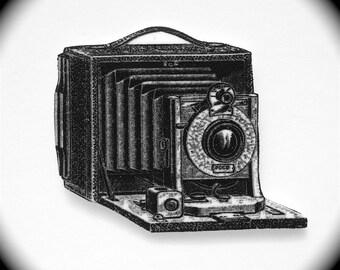 Camera Pin - Camera Tie Tack - Camera Lapel Pin - Camera Brooch - Folding Camera Pin - Vintage Camera Pin - Camera Illustration Pin