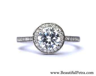 Halo - Diamond Engagement Ring - Pave - Antique Style - 14K white gold - Weddings - Bph020