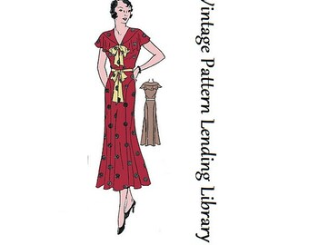 1930s Ladies Sleeveless Day Dress - Reproduction Sewing Pattern #T0423